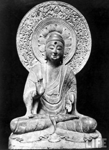 Life sized statue of the Buddha from the Tang Dynasty period (618-906 AD)